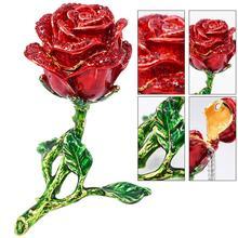 Creative Alloy Rose Flower Ring Box Metal Jewelry Storage