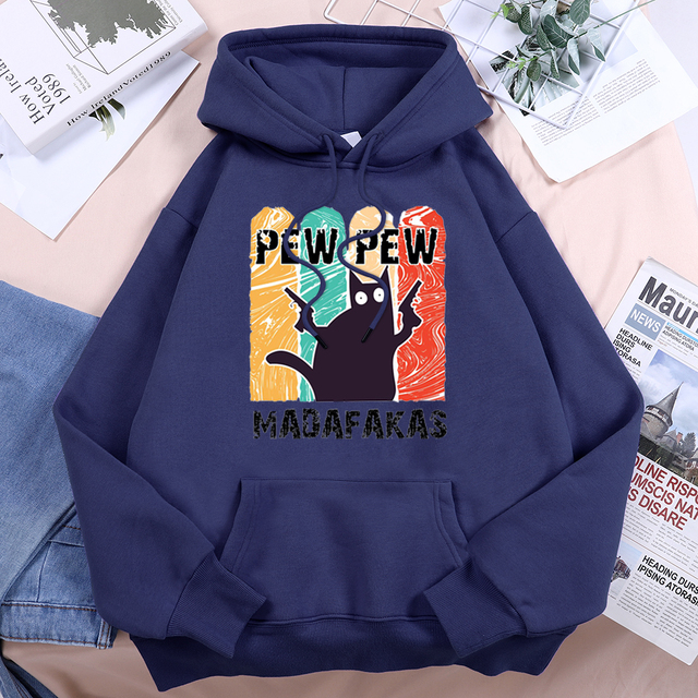 Pew Pew Cool Madafakas Black Cat Women Hoody 2021 Vintage Harajuku Hooded Hip Hop Fashion Streetwear Comfort Fleece Woman Hoodie 4