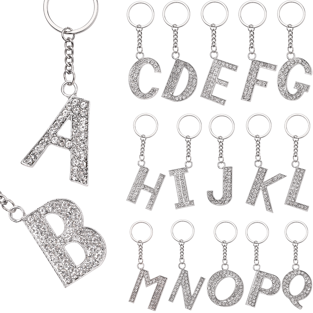 Letter Pendant Keychain Crystal Rhinestone Alphabet Key Ring Initial Capital Letter A-Z Jewelry Chain Unisex Key Chain Gifts(China)