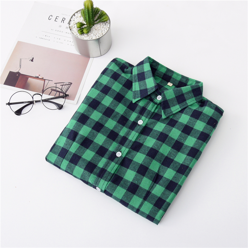2020 New Women Blouses Brand New Excellent Quality Cotton 32style Plaid Shirt Women Casual Long Sleeve Shirt Tops Lady Clothes 19