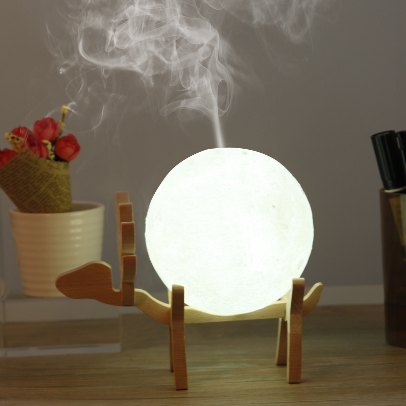 Drop Shipping 880ML Ultrasonic Moon Air Humidifier Aroma Essential Oil Diffuser USB Mist Maker Humidificador with LED Night Lamp