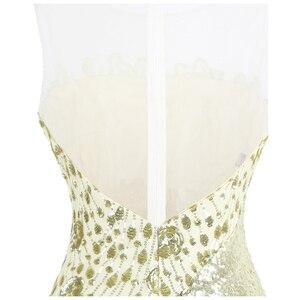 Image 5 - Robe de soirée forme sirène, robe de soirée, col rond, à la mode, robe de mariage, épissage, Champagne, 454
