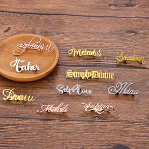 Personalized Customized Name Nameplate Lapel Pin Brooch Stainless Steel Customize the Font Fashion Gift Brooch For Man Women