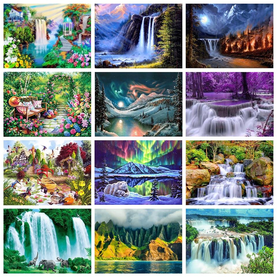Алмазная живопись «сделай сам», Набор для вышивки крестиком, алмазная вышивка пейзажа, водопад Стразы 5D, алмазная живопись, мозаика