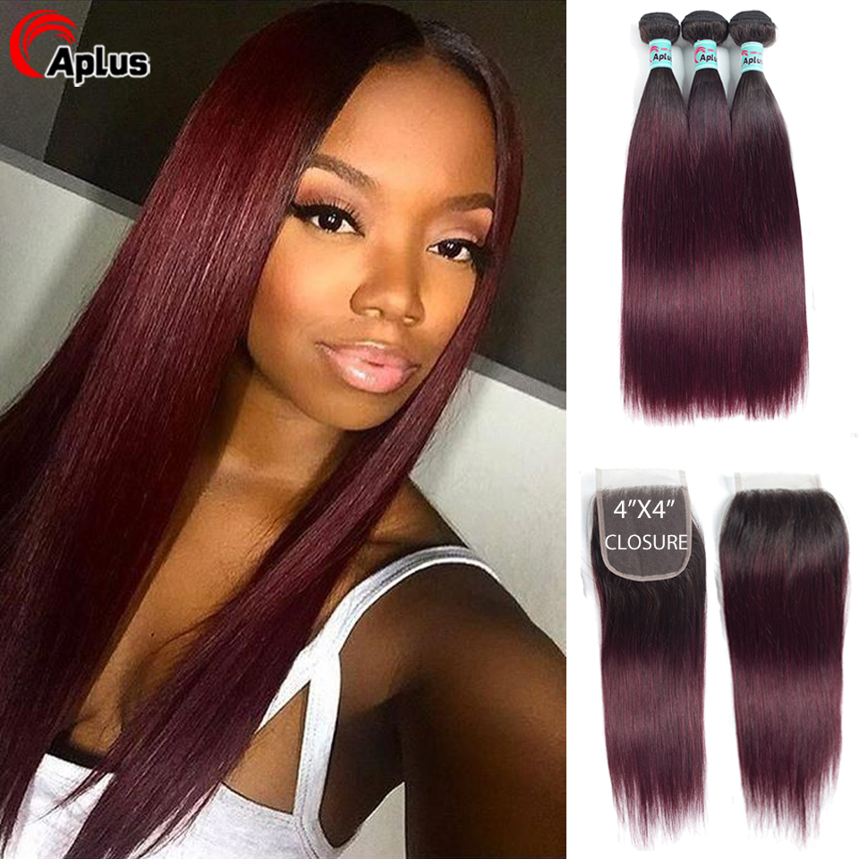 Aplus Hair Straight Two Tone Indian Hair Bundles With Closure 1B/99J Ombre Human Hair Bundle With Closure Remy Color Human Hair