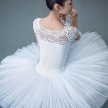 Tutú de Ballet profesional para adultos, falda tutú de tul de malla dura de 5 capas con cintura elástica blanca y negra