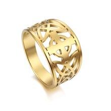 My Shape Rings for Women Christian Celtics Cross Finger Ring Stainless Steel Trisceli Sicily Rose Gold Color Religion Jewelry retro style engraving rose shape women s finger ring