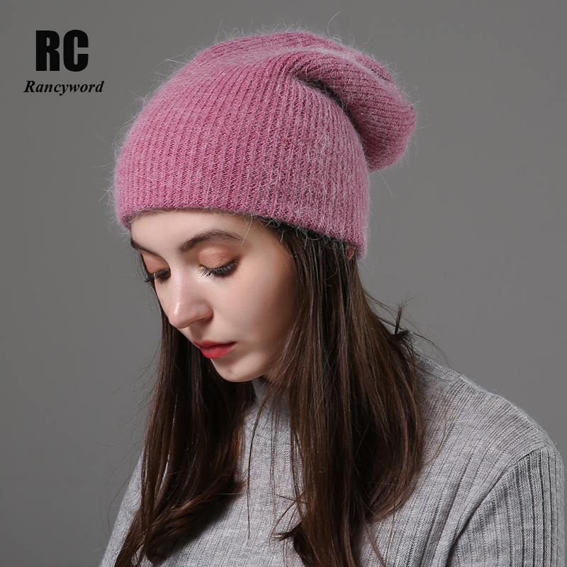 [Rancyword] Women Winter Hats Beanies Knitting Rabbit Wool Fur Hat Female Real Fur Skullies Caps Gorros Solid Color RC2076