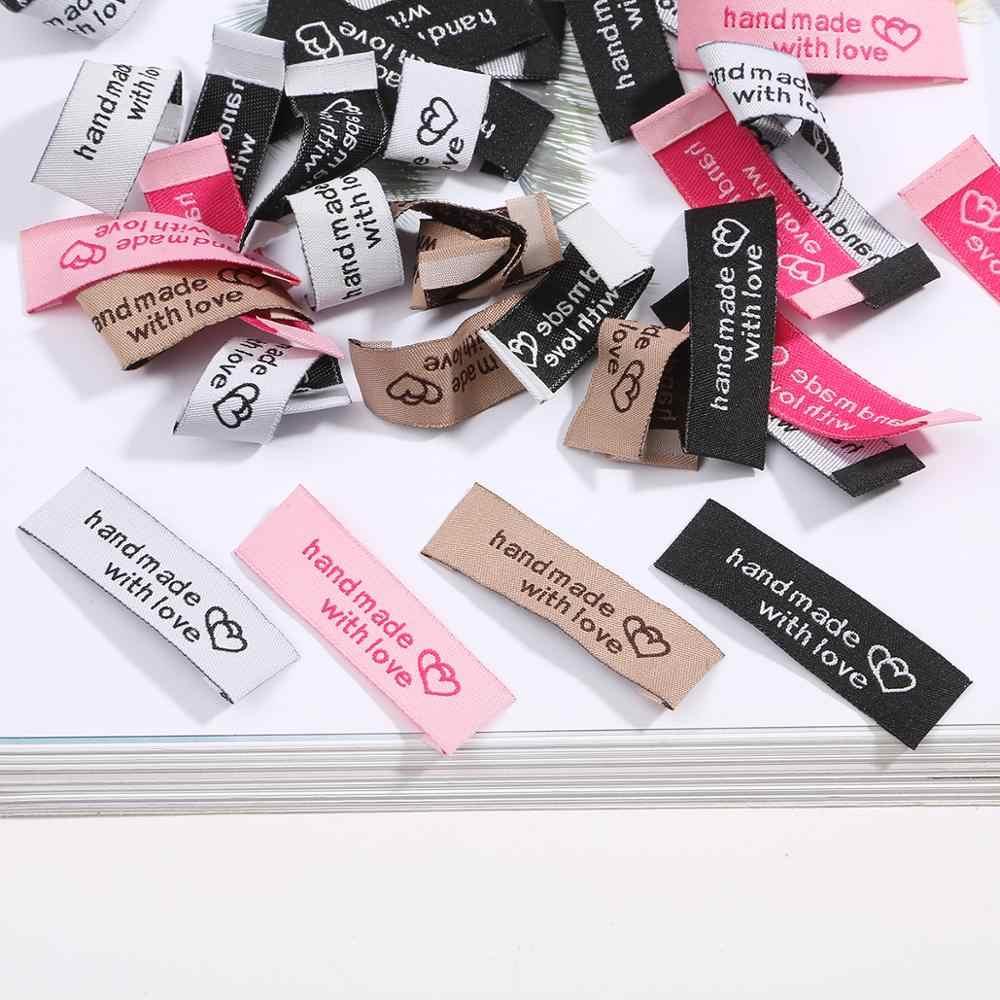 멀티 컬러 수제 태그 짠 인쇄 레이블 50X15mm 20pcs 의류 의류 라벨 DIY 태그 공예 봉제 액세서리