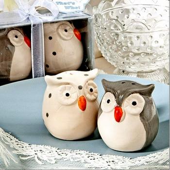 Fast Delivery 50pcs Wedding Favor Surprised! Owl Salt & Pepper Shakers (1set=2pcs) ceramics Party Gift Wholesale