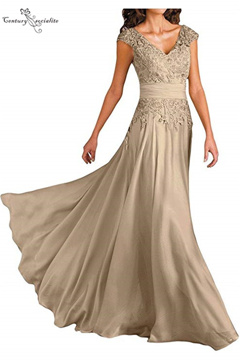 Champagne Mother Of the Bride Dresses Plus Size Cap Sleeves Lace Appliques Chiffon Long Wedding Guest Dress Evening Gowns 2020