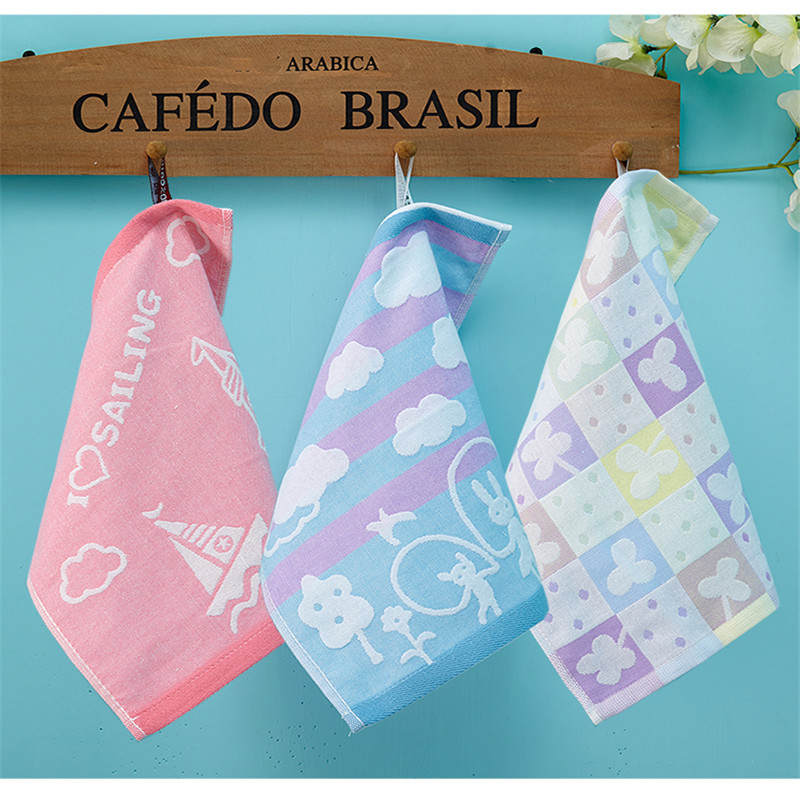 Cartoon Cotton Towels Soft Baby Towel Handkerchief For Infant Kid Children Feeding Bathing Face Washing 25*25cm AD0444