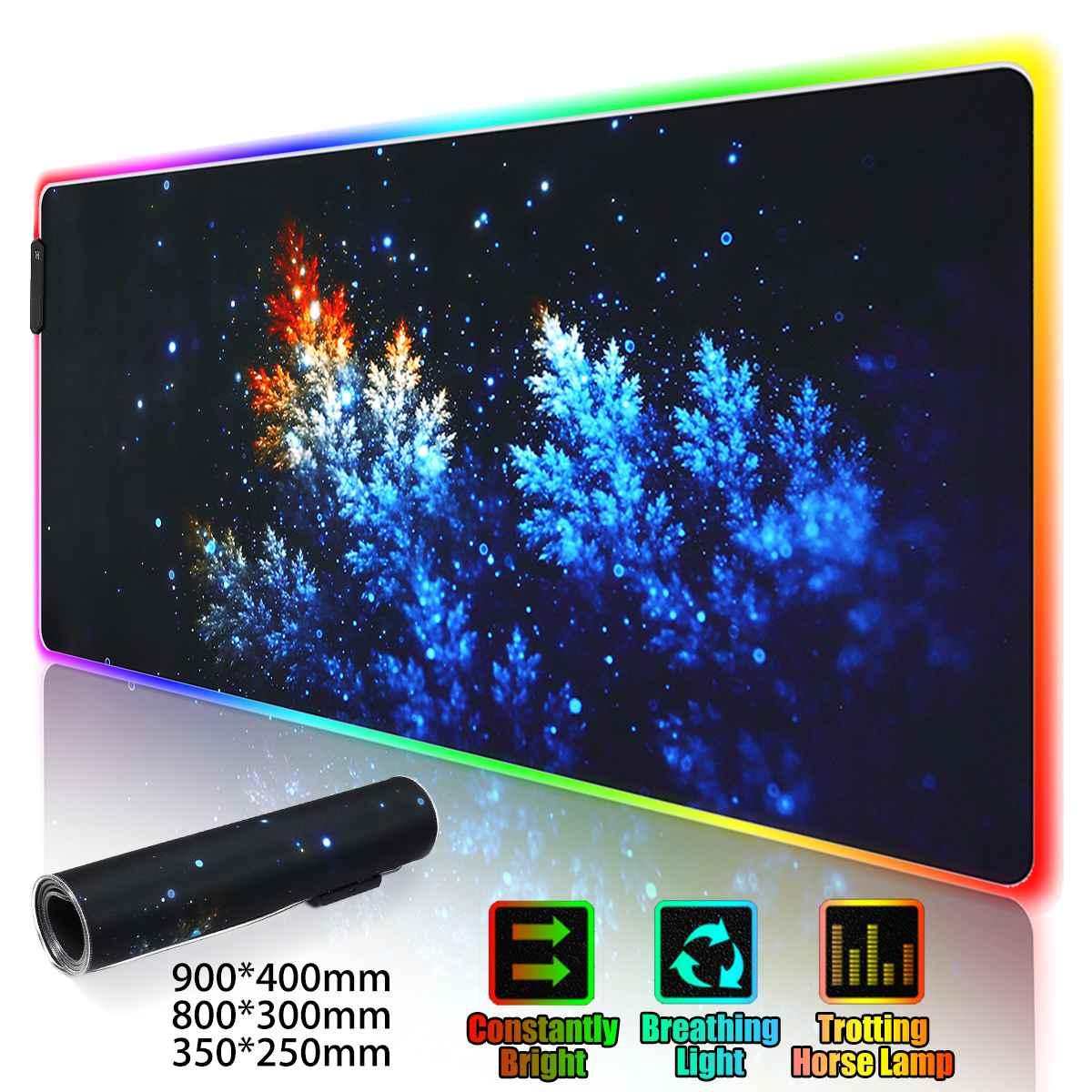 LED RGB Gaming Mouse Pad Large Gamer Mousepad USB Backlit Rainbow Non-Slip Rubber Computer Mat Keyboard Desk Pad