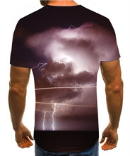 2020 new 3D T-shirt lightning print men's summer fashion handsome T-shirt leisure brand cotton men's clothing s-6xl