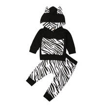 Newborn Baby Boy Clothes Set Infant Kids Outfit Long Sleeve Hoodie+Zebra Print Trousers Sweatsuit Childen Clothing 2pcs 0-2T(China)