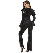 Jumpsuit Women Spring Black Sequin Sex Deep V-Neck Jumpsuits Sexy Rompers Glitter Club Party Jumpsuits Overalls LX430(China)