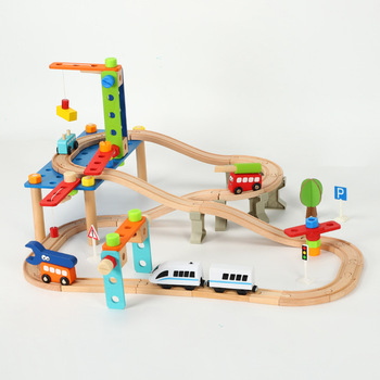 95pcs Nut disassembly combination building block rail wooden train and electric car track set children educational rail car toy