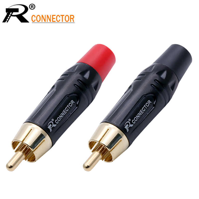 20Pcs Rca Connector Hoge Kwaliteit Rca Male Connector Gold Plating Audio Adapter Black & Red Pigtail Speaker Plug Voor 7Mm Kabel