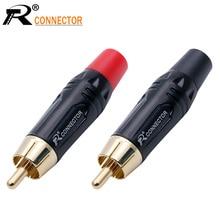 20 قطعة RCA موصل عالية الجودة RCA ذكر موصل الذهب تصفيح محول الصوت الأسود والأحمر ضفيرة المتكلم التوصيل ل كابل 7 مللي متر