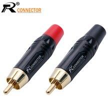 20 pces rca conector macho de alta qualidade rca conector chapeamento de ouro adaptador de áudio preto & vermelho pigtail alto falante plug para 7mm cabo