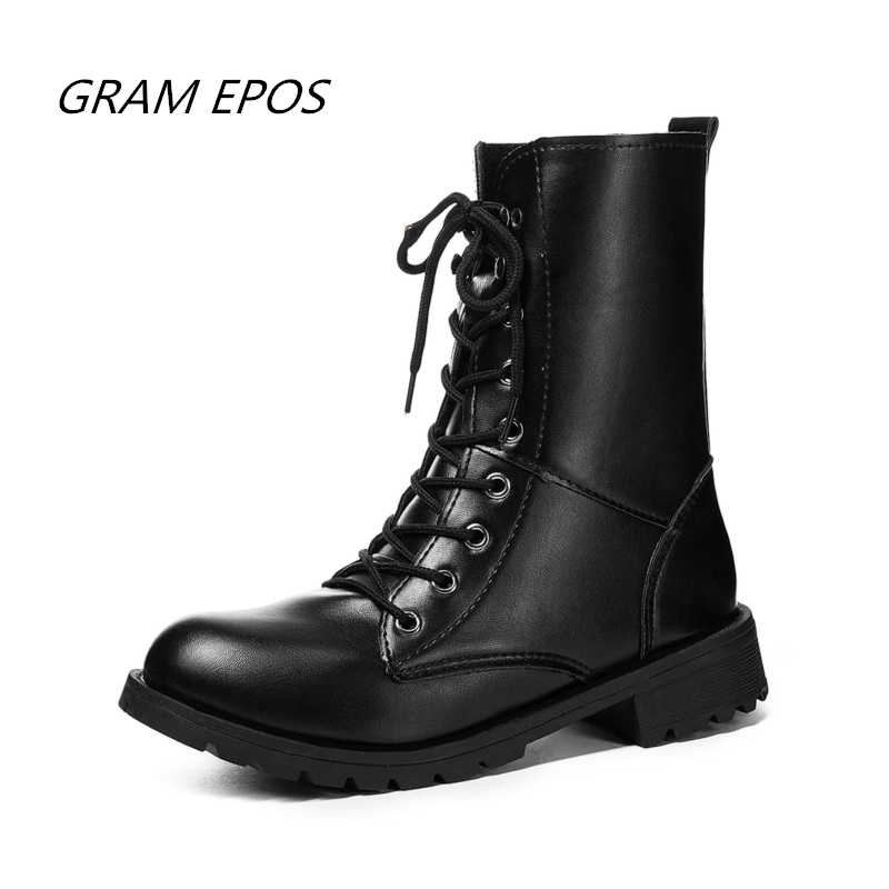 Couples Popular Motocycle Boots Size 35 -42 Women High-Top Combat Boots Men Leather For Women Casual Luxury Military Boot Army
