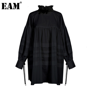 Image 1 - [EAM] Women Ruffles Split Joint Big Size Blouse New Stand Collar Long Sleeve Loose Fit Shirt Fashion Spring Autumn 2020 1D464