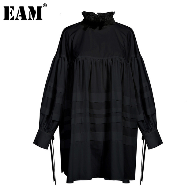 [EAM] Women Ruffles Split Joint Big Size Blouse New Stand Collar Long Sleeve Loose Fit Shirt Fashion Spring Autumn 2020 1D464