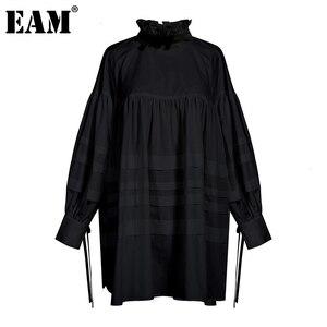 Image 1 - [EAM] blusa de mujer de talla grande con cuello alto nueva camisa holgada de manga larga a la moda Primavera otoño 2020 1D464