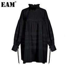 [EAM] 여성 주름 장식 분할 큰 크기 블라우스 새로운 스탠드 칼라 긴 소매 느슨한 맞는 셔츠 패션 봄 가을 2020 1D464