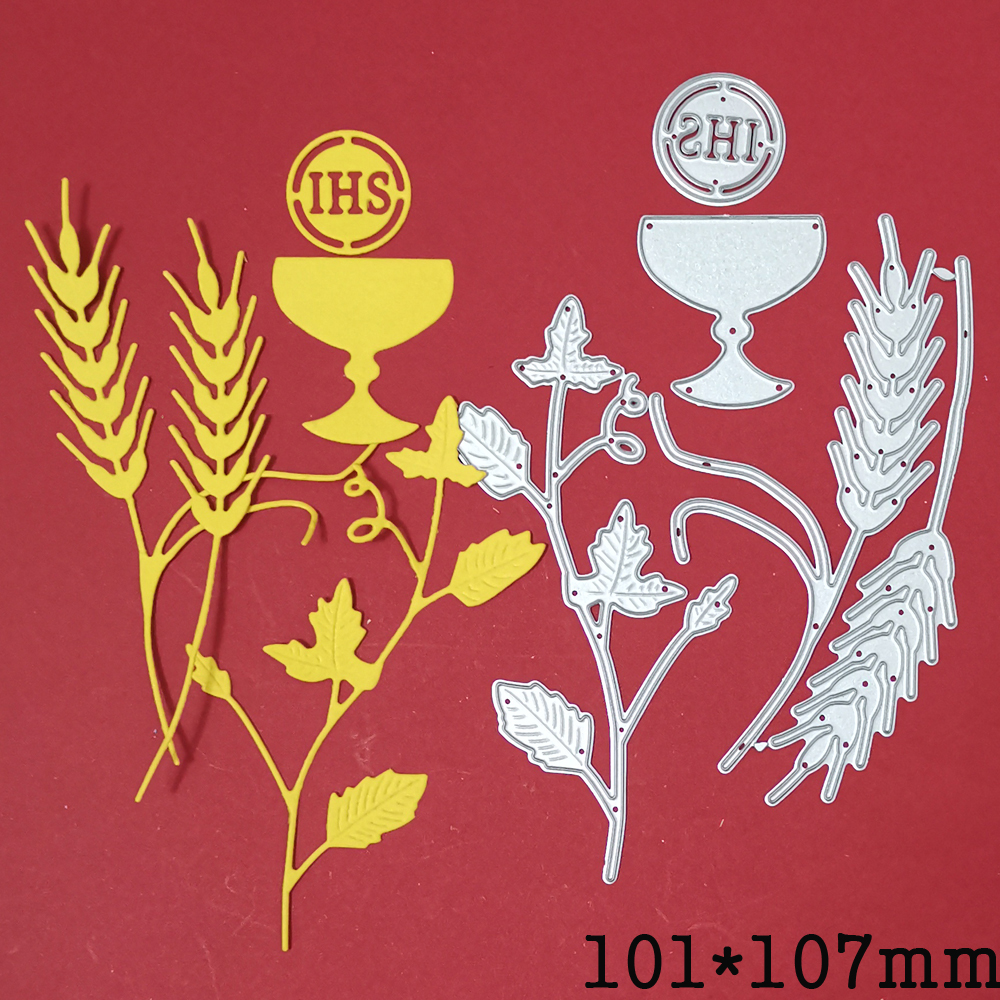 metal cutting die wheat vine IHS Holy grail craft die template for diy Scrapbooking emboss paper card making die mould stencil