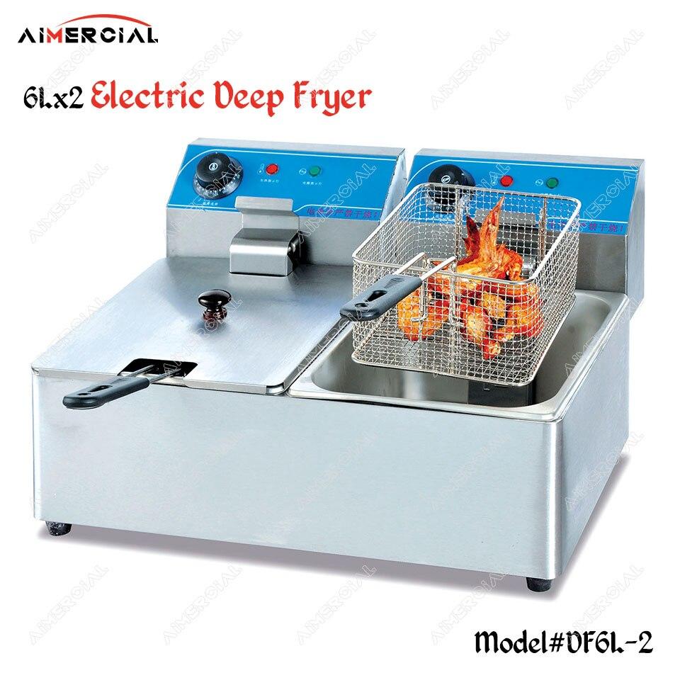 DF6L-2 friteuse électrique à double réservoir S. Friteuse en acier friteuse à huile commerciale pour frites/poulet frit avec thermostat