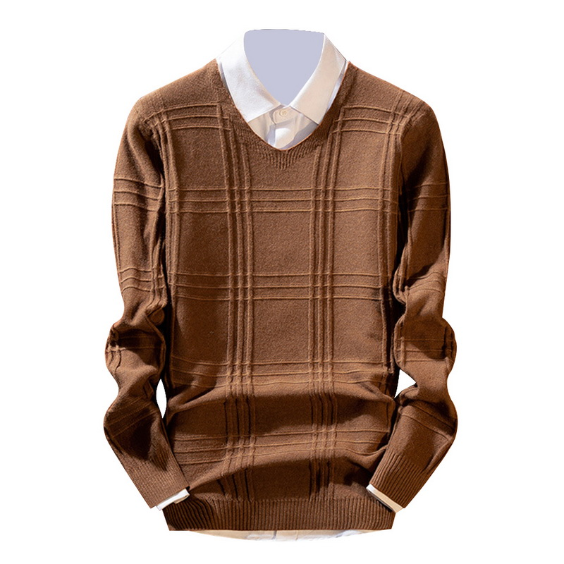 Vintage Plaid Tricot Mens Sweater Casual V Neck Knitwear Tops Sueter Masculino Autumn Clothes Modish Pull Homme Knitted Pullover