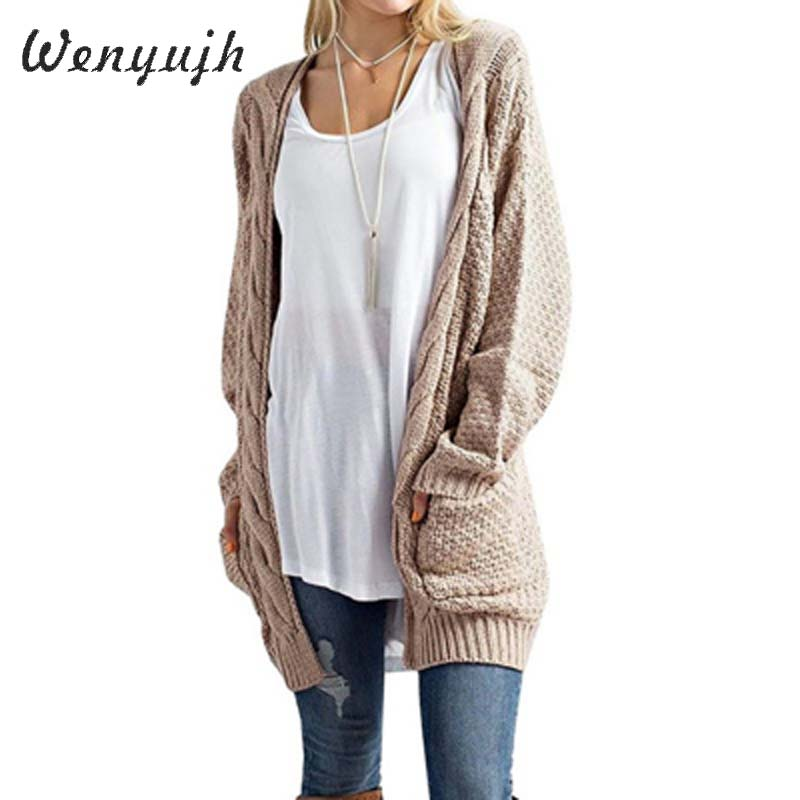 WENYUJH Long Cardigan Women Long Sleeve Knitted  Sweater Cardigan Autumn Winter Womens Sweaters 2020 Jersey Mujer Invierno