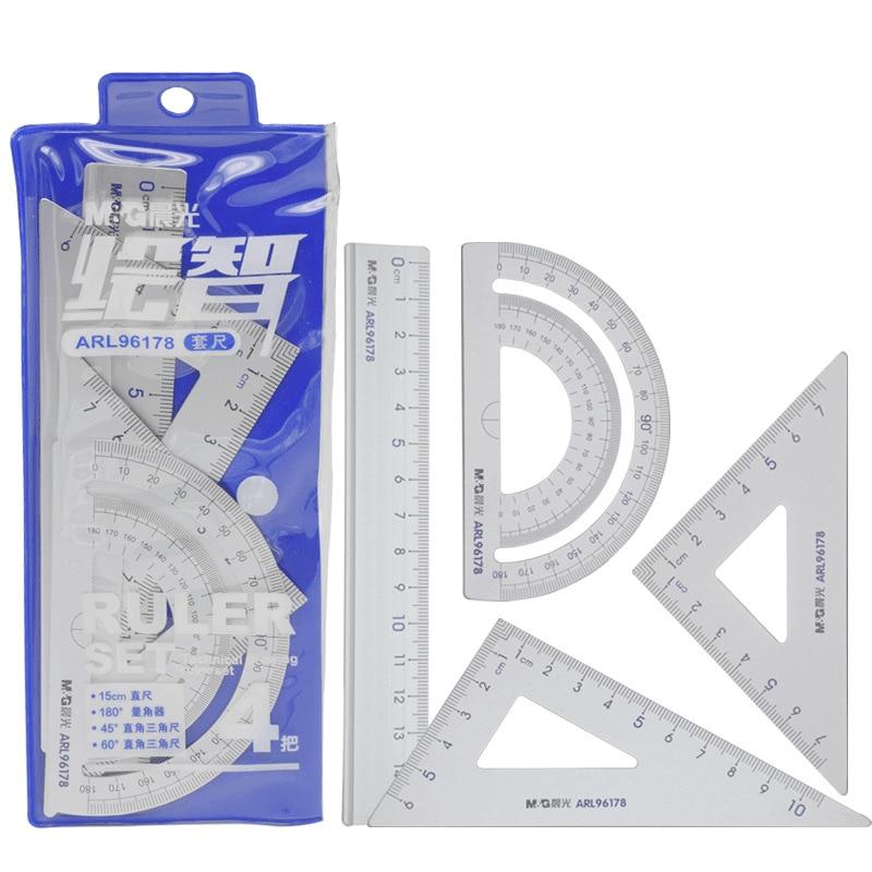 4Pcs Students Drawing School Supplies Set Square Ruler Aluminum Alloy Protractor 113