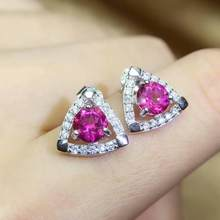 shilovem 925 silver sterling Stud Earrings natural topaz pink woman trendy fine new plant party gift Jewelry 5mm qe0505666agfb(China)