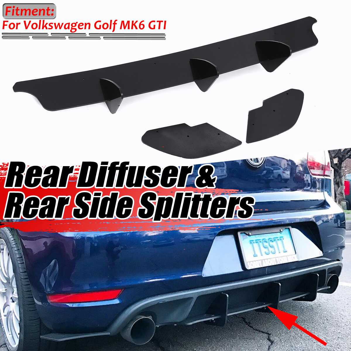 For GTI Car Rear Bumper Diffuser & Rear Side Splitters Spoiler Guard For VW For Volkswagen For Golf MK6 GTI/ MK7 GTI / MK7.5 GTI