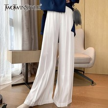 Twotwinstyle カジュアルワイド脚パンツ女性ハイウエストシャーリングパンツ大サイズのズボン女性のファッションの服 2020 秋の新