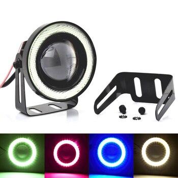 цена на 2pcs 12V Universal Car COB LED Fog Light Angel Eye DRL Driving Projector Signal Bulb Lamp Auto Tuning Car Lamp 2.5'' 3.0'' 3.5''