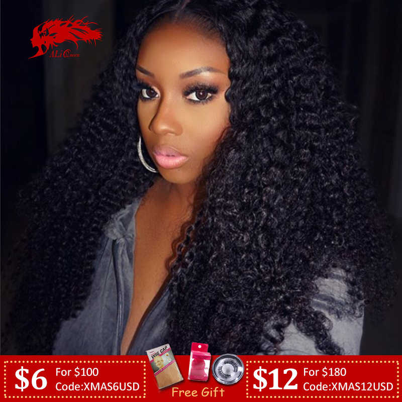 "Mongolian Afro Kinky Curly 13x4/13x6 Lace Front Wig 8"" to 26""130%/150%/180% Density Pre Plucked Remy Human Hair Wig"