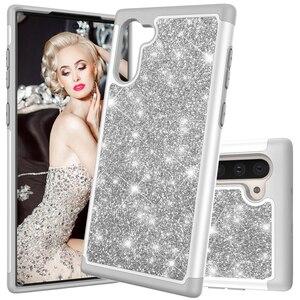 Image 1 - Glitter Telefon Fällen für Samsung Galaxy Note10 Note10 Plus Note10 Pro Fall Luxus Bling Dual Layer Hybrid Harte PC TPU funda Coque