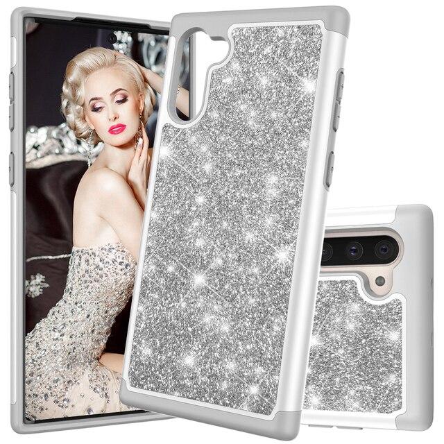 Glitter Telefon Fällen für Samsung Galaxy Note10 Note10 Plus Note10 Pro Fall Luxus Bling Dual Layer Hybrid Harte PC TPU funda Coque
