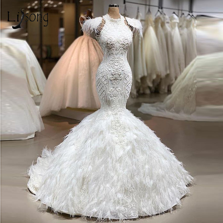 Real Image Luxury Feather White Mermaid Wedding Dresses 2020 Lace Bridal Gowns Custom Made Dubal Wedding Gowns