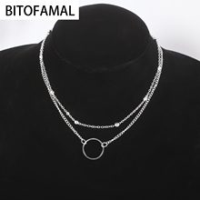 Fashion Double-layer Bead Chain Hollow Circle Pendant Necklace for Women Simple Geometric Female Trendy Chokers Necklaces cheap None CN(Origin) Snake Chain Metal ROUND Party