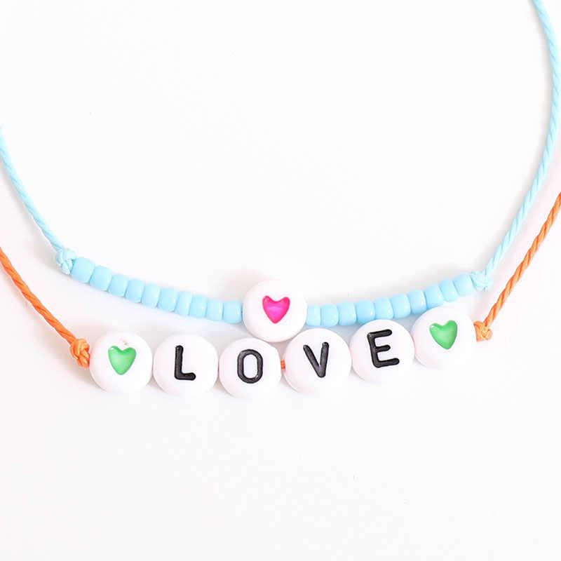 G. YCX צבעוני חרוזים אהבת לב מכתב צמיד מיוקי תכשיטי זוג מזל מחרוזת חבל צמידי ילדים משפחה ידידות מתנות