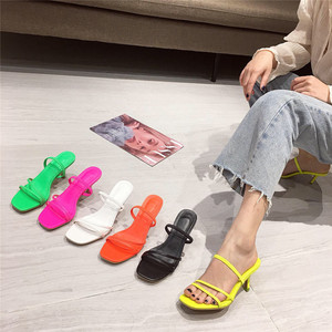 Candy color narrow band summer slippers kitten heels square toe woman shoes all match brief femme slides comfy flip flops 2020