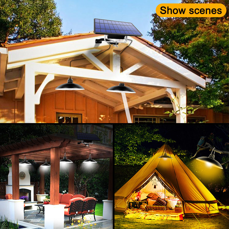 Single and Double Head Solar Pendant Light for Outdoor and Indoor With White and Warm White Lighting 5