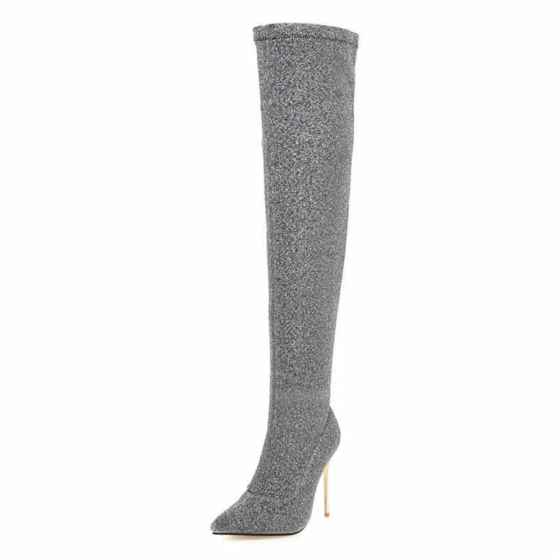 ANNYMOLI hiver cuissardes bottes femmes Bling mince talon sur le genou bottes Slim Stretch Super haut talon chaussures femme grande taille 46