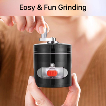 Hand-cranked Herbal Grinder 63mm In Diameter With Drawer Side Window Metal Coarse Tooth Grinder Spice Herb Shredder image