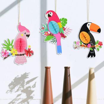 Kreatywny nowa dekoracja 3 sztuk papuga wisiorek girlandy papierowe DIY wiszące Ornament Party o strukturze plastra miodu dla dzieci prezent dla dzieci artykuły urodzinowe tanie i dobre opinie CYZIWEI CN (pochodzenie) Zwierzę rysunkowe zy97820 Tektura Ślub i Zaręczyny Przeprowadzka Na imprezę Na Dzień Ojca