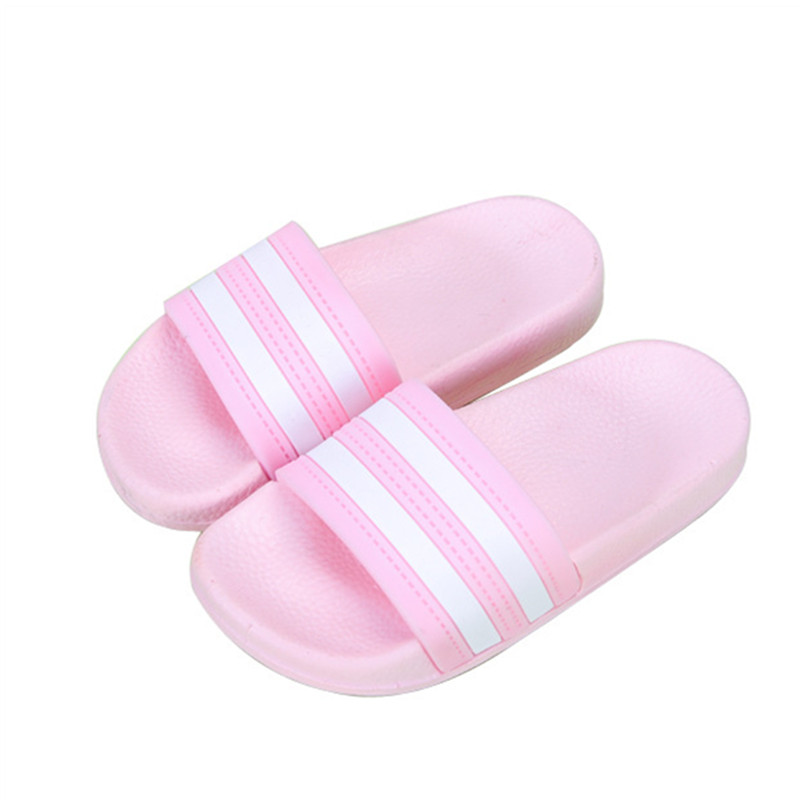 Summer Striped Children Slippers Boys Girl Home Flip Flop Kids Indoor Beach Sandals Non-slip Parent House Casual Shoes